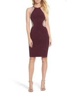Beaded Mesh & Jersey Sheath Dress