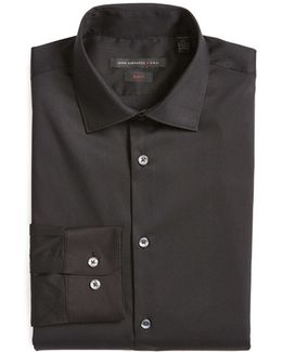 Slim Fit Solid Stretch Cotton Dress Shirt