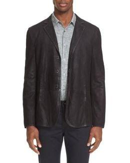 Slim Fit Leather Sport Coat