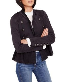 Ruffle Hem Military Jacket