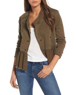Ruffle Hem Military Jacket