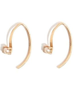 'mini Wishbone' Pearl Hoop Earrings