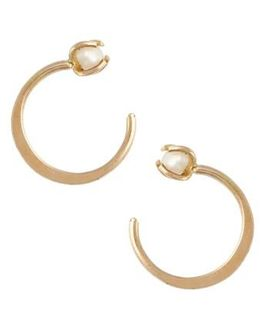 Threader Hoop Pearl Earrings