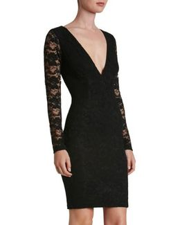 'erica' Plunge Neck Lace Body-con Dress