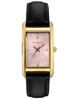 'bliss' Rectangle Case Leather Strap Watch