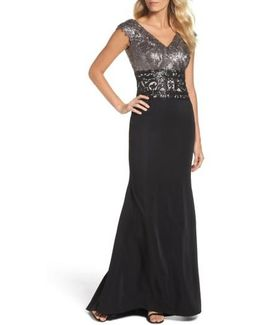 Sequin Woven Fit & Flare Gown
