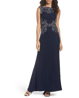 Embroidered Crepe Gown
