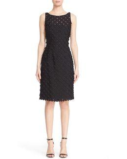 Carmen Marc Valvo Circle Appliqué Sleeveless Crepe Sheath Dress