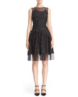 Floral Applique Sleeveless Organza Dress