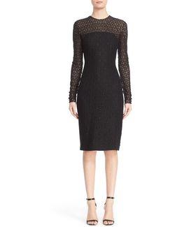 Embellished Illusion Lace Knit Sheath Dress
