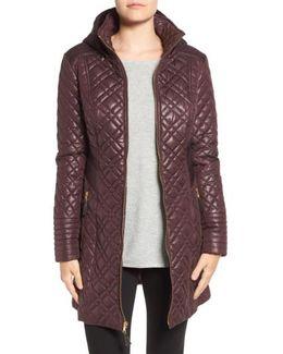Tassel Detail Hooded Mix Quilt Coat
