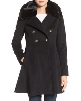 Double Breasted Coat With Faux Fur Collar