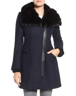Faux Fur Trim Asymmetrical Wool Blend Coat
