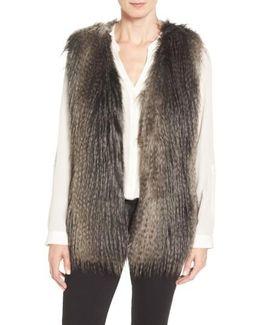 Collarless Faux Fur Vest