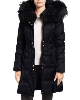 Water Repellent Quilted Puffer Coat With Faux Fur Trim