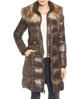 Quilted Coat With Faux Fur Trim
