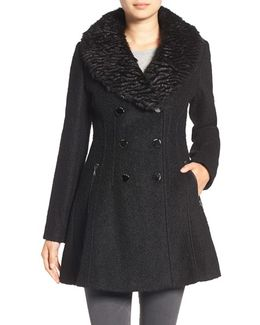 Boucle Fit & Flare Coat With Faux Fur Collar