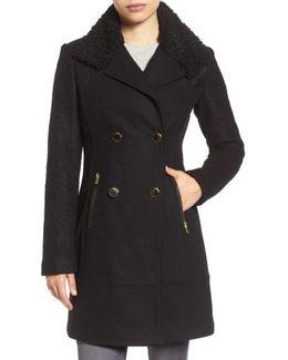 Boucle Sleeve Wool Blend Military Coat