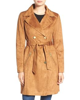 Faux Suede Double Breasted Trench Coat