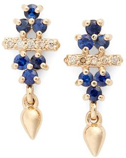 'emma Bloom Bullet' Sapphire & Champagne Diamond Stud Earrings