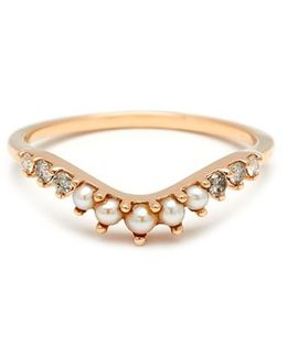 'tiara Curve' Diamond & Seed Pearl Ring