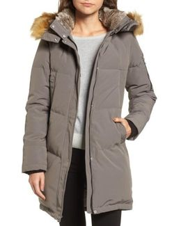 Down & Feather Fill Parka With Faux Fur Trims