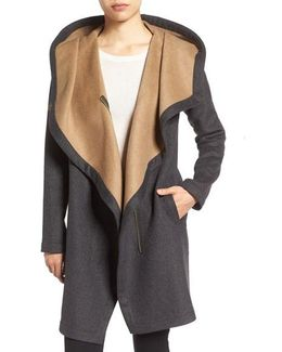 Double Face Hooded Drape Coat