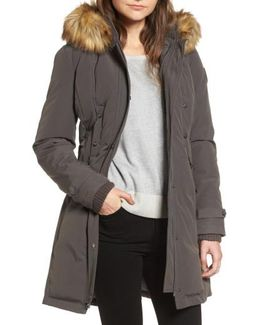 Faux Fur Trim Down & Feather Fill Parka
