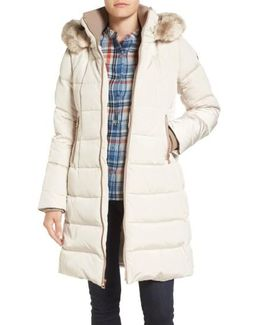 Down & Feather Fill Coat With Faux Fur Trim Hood