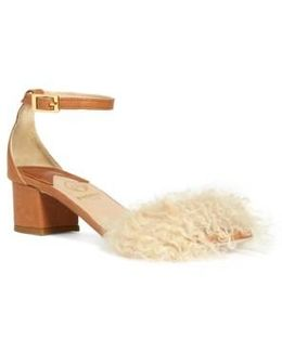 Tufted Dhara Genuine Shearling Ankle Strap Sandal