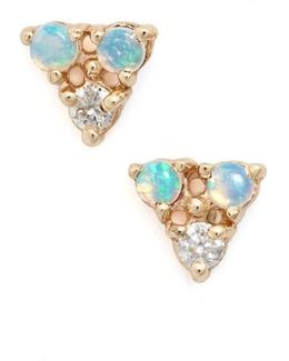 Triangle Opal & Diamond Earrings