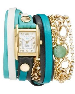 Leather & Chain Wrap Bracelet Watch