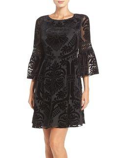 Burnout Velvet Fit & Flare Dress