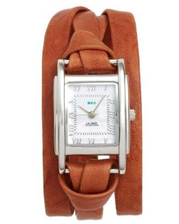 'milwood' Leather Wrap Watch