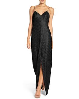 'samantha' Spaghetti Strap V-neck Sequin Gown