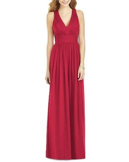 Crisscross Back Ruched Chiffon V-neck Gown