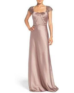 Embellished Lace & Satin Gown