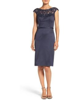 Embellished Illusion Yoke Woven Sheath Dress