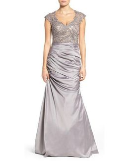 Embellished Lace & Satin Mermaid Gown