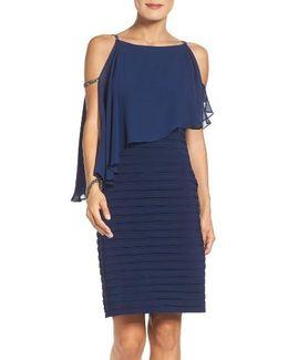 Embellished Cold Shoulder Jersey Sheath Dress