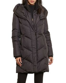Quilted Hooded Coat With Knit Trim
