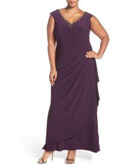 Embellished V-neck Side Drape Jersey Gown