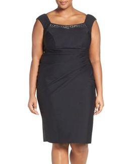 Embellished Square Neck Sleeveless Sheath Dress