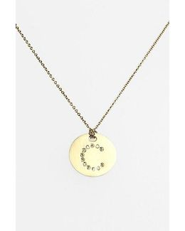 'tiny Treasures' Diamond Initial Disc Pendant Necklace - C