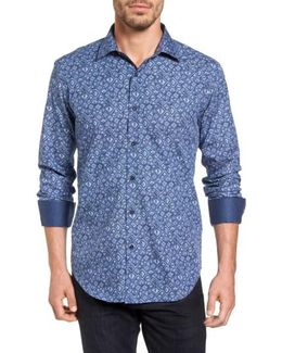 Shaped Fit Graphic Print Sport Shirt
