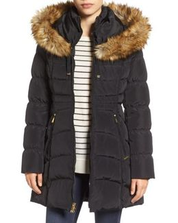 Hooded Down & Feather Fill Coat With Detachable Faux Fur Trim