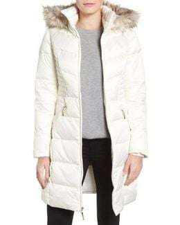 Faux Fur Trim Matte Satin Down Coat