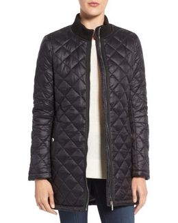 Quilted Front Zip Coat