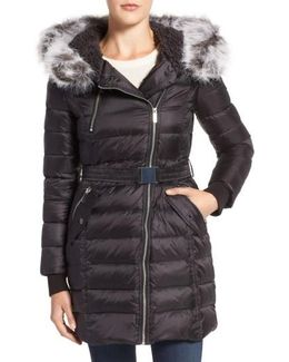 Quilted Coat With Faux Fur Trim Hood