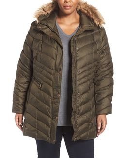 'renee' Chevron Quilted Coat With Faux Fur Trim Hood